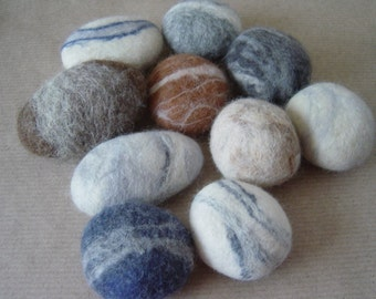 Small Felt pebbles x 10 Contemporary home decoration.