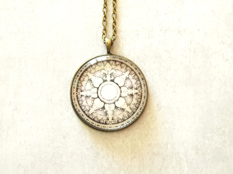 Compass Wind Rose pendant vintage retro glass pendant