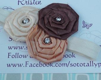 Newborn headband/Infant headband/Satin rosette headband/Photo prop