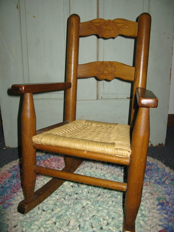 Vintage Wood And Wicker Child S Rocking Chair