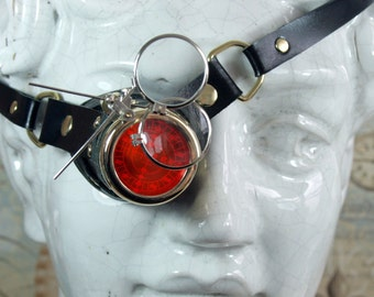 Steampunk, monocle, black, leather, brass, magnifyers