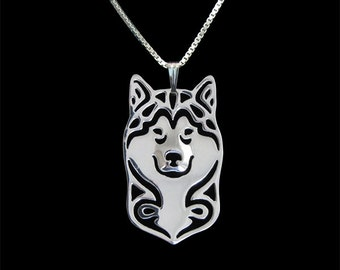 Alaskan Malamute jewelry - sterling silver pendant and necklace
