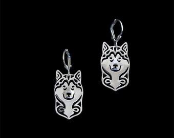 Alaskan Malamute earrings - sterling silver.