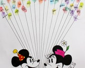 Minnie Mouse and Mickey Mouse with Balloons Hand Drawn Ink Guest Book Art for birthday, minnie or mickey party or baby shower