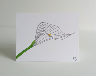 """White Calla Lily Note Card with coordinating """"Wave"""" lined envelope, elegant floral note card blank inside"""