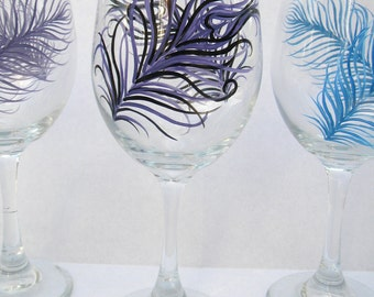 Feathers - Hand Painted Wine Glasses