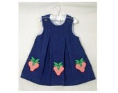 Vintage 2T blue corduroy jumper dress - strawberry applique