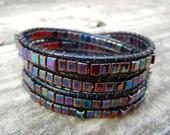 Beaded Leather Wrap Bracelet 4 Wrap with Iridescent Amber Rainbow Cube Beads on Black Leather