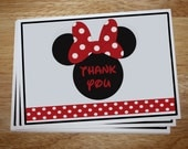 Minnie Mouse Thank You Card (RED or PINK)