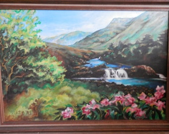 SIGNED C. Lease Oil Painting Framed Trees,Mountain,River,Flowers,waterfall, Charming old Painting Vibrant Colors Artist Signed Original Art