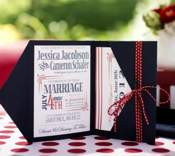 4th of July Wedding Invitation. Printable Wedding Invitation.