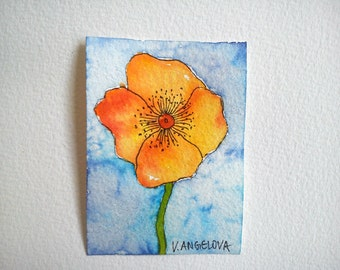 Original aceo, aceo watercolor, aceo flower, art aceo, ooak aceo, atc painting, atc flower, atc watercolor, atc original