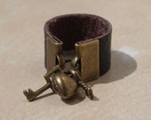 Custom Heart and Key Leather Ring sz 4-14