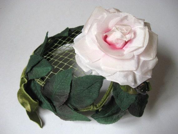 Vintage 1940s Pink Silk Rose Floral Demi Skull By Covetedcastoffs