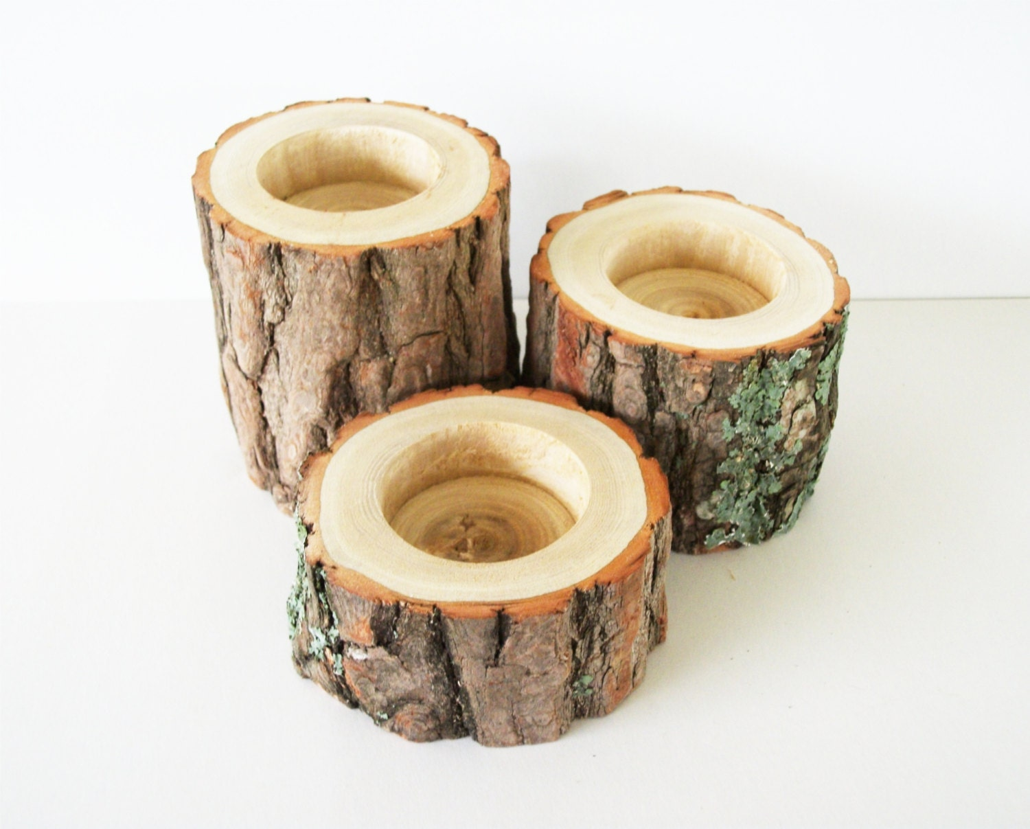 Tiered Sassafras Wood Candle Holders Set Of 3 Rustic Wedding