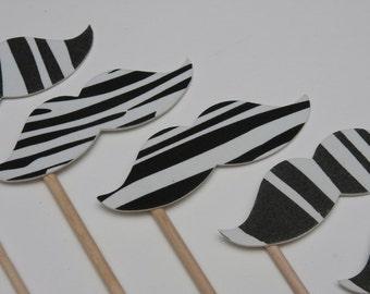 STACHE STICKS White Zebra (Set of 6 large hand cut stache sticks)
