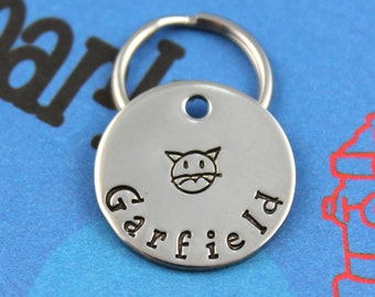 SMALL Cat Tag - Nickel Silver Customized Pet Tag - Small Cat Metal Name Tag - Other Metals Available