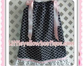 Black, white and pink pillowcase dress.