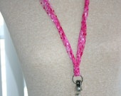 Lanyard or Scarf pink with silver ring at the end for ID Badge, charms or just decoration.