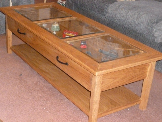 Items Similar To Oak And Glass Coffee Table Display Case On Etsy