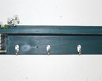 Wood shelf 4 key hooks with floral wall vase, coat hooks, wood, sconce, home decor, shabby chic, country style, painted Gypsy Teal