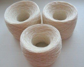 Linen Yarn white 200gr (7 oz ), Cobweb / 3 ply, approximately, each hank contains approximately 800 yds