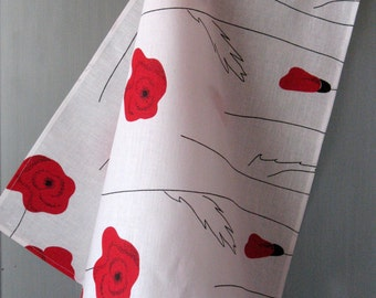 Linen Cotton Dish Towels Tea Towels Red Poppies Red Black White - Tea Towels set of 2