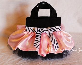 Light Pink, Black & Zebra Mini Tutu Tote