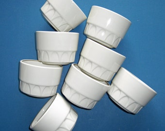 Mayer China - Sculptura White with Auric Gold Line - Restaurant Ware - Set of 8 Bouillon Cups