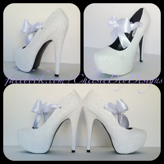 White Wedding Vow Glitter Pump High Heels with Satin Bows