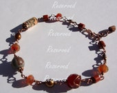 Reserved for customer (honey bee wire wrapped copper bracelet with paper bead red jasper and glass)