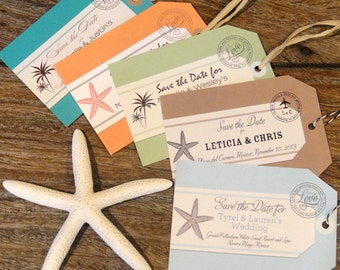 Luggage Tag Save the Date, beach weddings, destination wedding, for any location, envelopes included