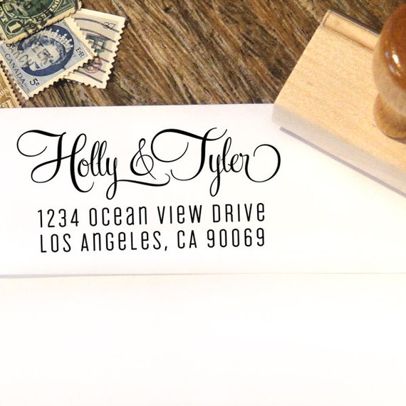 Custom Address Stamp With A Calligraphy Script Font By