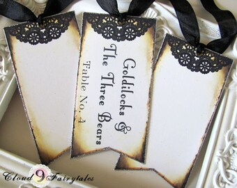 Doily Escort Cards Escort Tags Wedding Place Cards Placecards vintage style Black silver or gold glitter set of 50