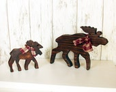 Two Rustic Wood Moose - Set of Two Brown Wooden Lodge Moose