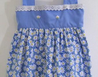 Girls  Summer  Dress, toddler blue floral dress, hand embroidered dress, Girls Cotton Dress,  girls dress, toddler dress,