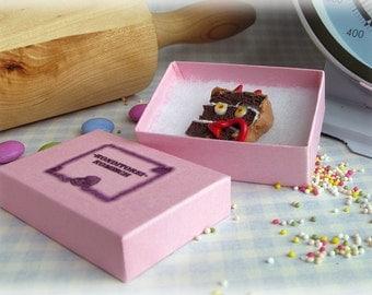 Cake Magnet Polymer Clay 'Devil's Food Cake' Magnet Fimo Food Homeware