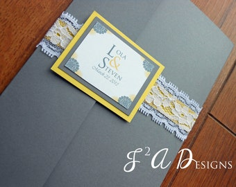 Lace Yellow and Gray Pocketfold Wedding Invitation