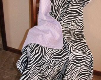 zebra print and minky throw 46x54''