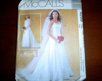 8 10 12 14 Spaghetti Straps Jacket Bridal Evening Dress Wedding Gown PATTERN McCalls 4299 Uncut