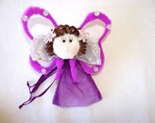 Purple butterfly doll with bag, use as centerpiece, favor, decor. Party, Confirmation, Baby shower, Christmas, Quinceanera
