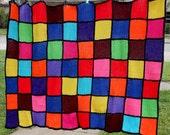 Vintage Primary Color Patchwork Afghan