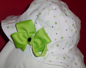 SALE Toddler Girl White Sun Hat with Lime Green and Black Polka Dots, Polka Dot Sun Hat with Flower,