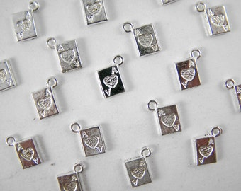 10 Tibetan Ace Card Charms - Bright Silver Finish