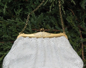 White Mesh purse with gold tone frame Whiting & Davis Co.