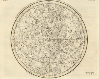 Moon, Constellation, Antique print, Constellations of the Northern Hemisphere, 65