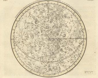 Moon, Constellation, Antique print, Constellations of the Northern Hemisphere, 65