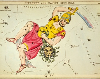 Constellation poster, Astronomy, Moon map, Constellations of Perseus and Caput Medusæ, 153