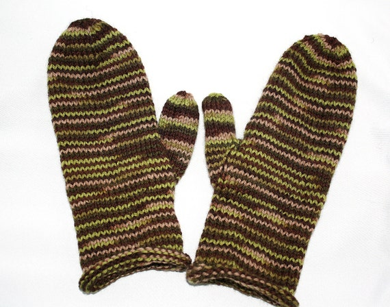 Knitting Pattern For Hunting Mittens : Camo Mittens camouflage adult knitted wool brown green