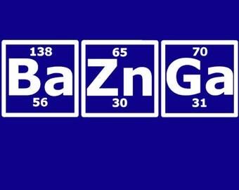 Baznga Periodic Table Big Bang Theory Shirt S-2X